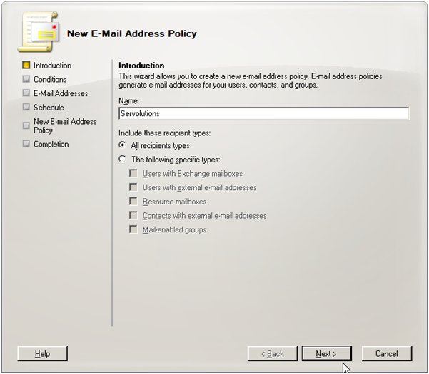 Exchange 2007 new address policy
