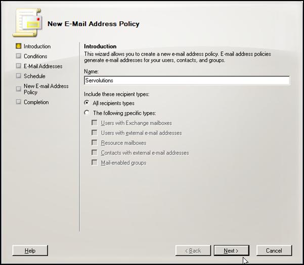 Exchange 2007 new address policy