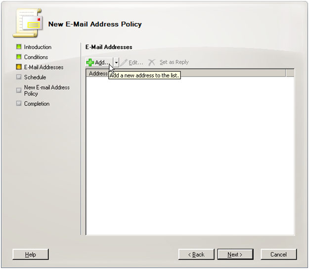 Exchange 2007 new address policy step 2