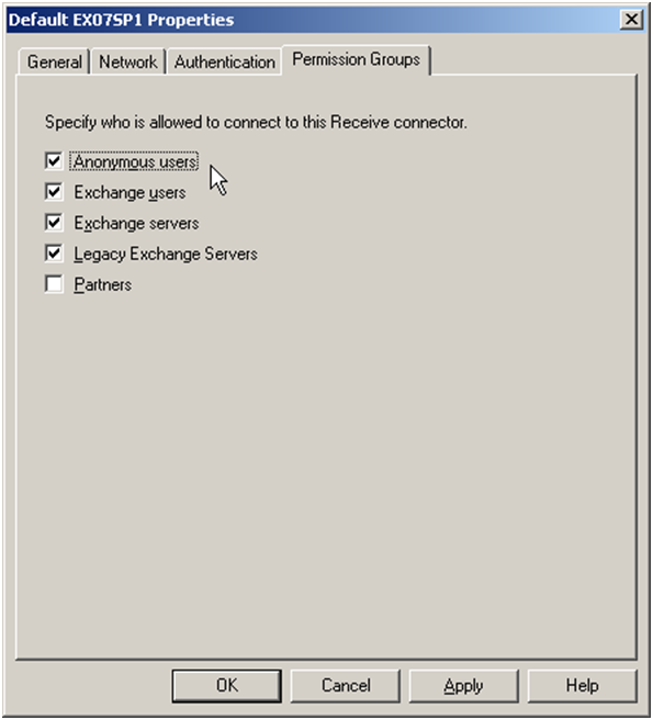 Exchange 2007 Receive Connector Permission Groups