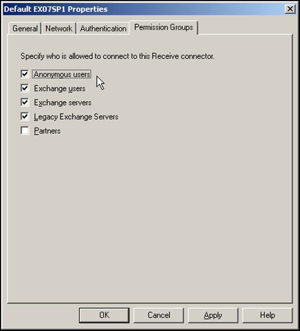 Exchange 2007 Receive Connector Permission Groups